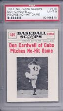 1961 Nu Card Scoops # 410  Don Cardwell Pitches No Hit Game PSA 9