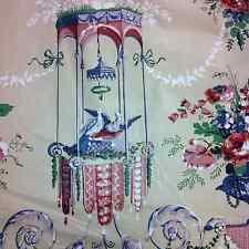 """A.L.DIAMENT & CO UK HANDPRINT FABRIC Chintz Asian LOUIS XVI CABLE DOVES"""" FLORAL"""