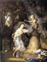Artwork Oil painting Votive Offering to Cupid with young girl in landscape
