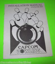 Capcom Bowling Cocktail Original Video Arcade Game Operation Instruction Manual