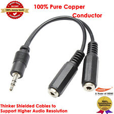 Black 3.5mm Stereo Audio Headphone Y Splitter Cable