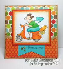 Scooter & Granny U get photo #2 words L@k@example Art Impressions Rubber Stamps