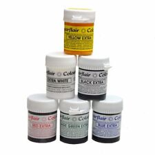 FULL SET OF 6 SUGARFLAIR EXTRA CONCENTRATED FOOD COLOURS PASTE MAXIMUM STRENGTH