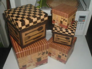 5 Bob's Boxes Nesting Stacking Boxes Whats for Dinner DiPaolo Art by Lang
