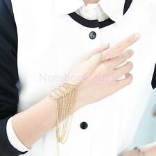 Punk Alloy Tassel Chain Linked Finger Ring Cuff Hand Harness Slave Bracelet