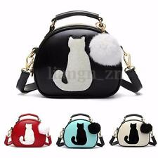 Fashion Women Cat Leather Round Handbag Shoulder Bag Satchel Purse Crossbody AU