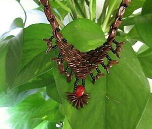 Handmade Melon and Nuts Seed Brown Necklace