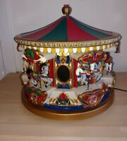 VTG Mr Christmas Animated Lighted Musical HOLIDAY MERRY GO ROUND CAROUSEL NO BOX