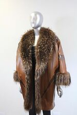Brown Leather With Raccoon Cape Size Free