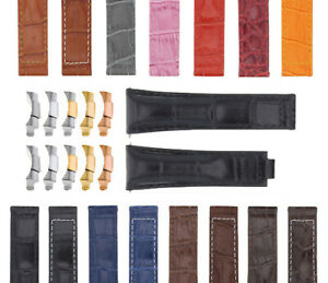 20MM ALLIGATOR LEATHER STRAP BAND FITS FOR ROLEX SUBMARINER, GMT, DATEJUST WATCH