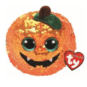 Ty Beanie Flippables 36333 Seeds the Pumpkin Sequin Flippable Halloween Regular