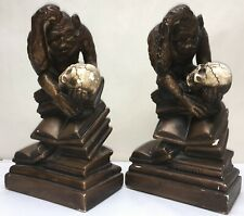 """Vintage 12"""" Darwin Monkey Holding Skull Bookends Painted Plaster Marwal Lucchesi"""