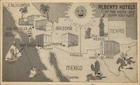 Southwest US ALBERTS HOTEL LA Phoenix San Diego El Paso Postcard