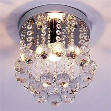 Crystal Droplets Silver Chrome Ceiling Pendant Light Chandelier Fitting Lamp GC@