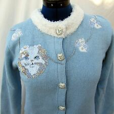 Storybook Knits Persian Cat Kitty Kitten Size Small Sequins Sweater Cardigan New