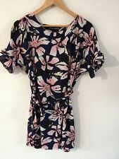 Atmosphere Dress Size 10 Navy With Floral Pattern Belt Waist <R12718