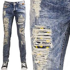 Jeans UOMO pantaloni denim strappi casual SMILE emoticons slim nuovi AD6851