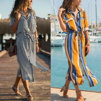 Boho Women Stripe Floral Button Sundress Hawaii Beach Party Evening Maxi Dress