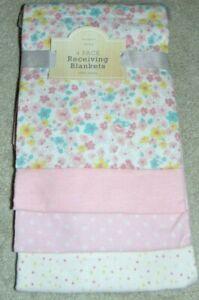 ~4 NWT Girls MODERN BABY Flower/Polka Dotted Receiving Blankets! Super Cute FS:)
