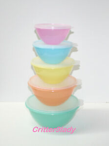 NEW Tupperware Classic Wonderlier Bowl Tower Set of 5 Retro Pastel colors