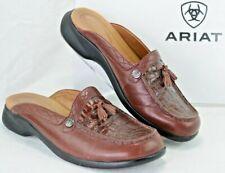 ARIAT Women 8.5 B EUR 40.5 Slip on Mules Tassel Croc Embossed Brown Leather Y311