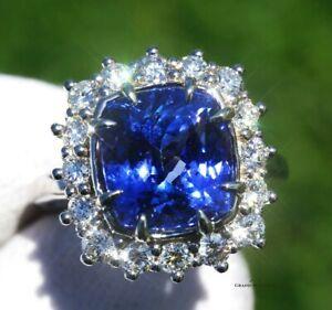 Tanzanite Ring Gold Diamond NO HEAT Natural 8.0 CTW GIA Certified RETAIL $15600
