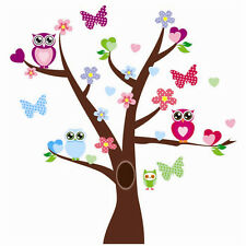 Wandtattoo Wandsticker Sticker Kinderzimmer Bunt Eulen Schmetterling Baum Neu !