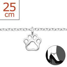 925 Sterling Silver Paw Print Charm Anklet / Ankle Bracelet 25cm UK Seller Dog