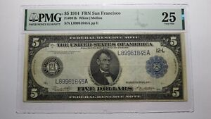 $5 1914 San Francisco Federal Reserve Large Size Currency Bank Note Bill VF25