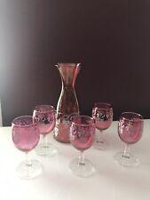 New listing Vintage Cranberry Clear Glass Decanter 5-pc Set Wine Cordial Goblets grape vines
