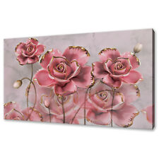 BEAUTIFUL ABSTRACT 3D PINK ROSES FLOWERS BOX CANVAS PRINT WALL ART PICTURE