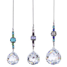 Set 3 Crystal Suncatcher Ball Drop Pendants Decoration Hanging for Home Window