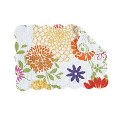 Set of 2 C&F LILLY Floral Quilted Cotton Rectangular Placemats
