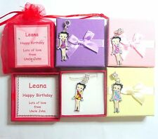 Betty Boop Flower Power Girl Enamel Charm Pendant Necklace in Personalised Box