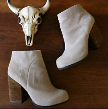 Jefferey Campbell Hanger Taupe Raw Hide Suede Stacked Heel Ankle Boots - Sz 9.5