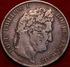 1845 France 5 Francs Silver Foreign Coin