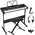 61 Key Electronic Keyboard Piano Organ with Microphone Stand Stool Earphone