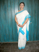 Wedding Gown Sari, Bollywood Bride, White and Teal with ALL Accessories