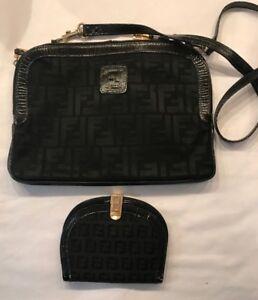 Vintage FENDI Canvas Leather Trim Cross Body Bag And Wallet