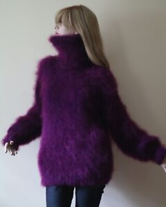 Hand-knitted Mohair Sweater Jumper L size Royal Purple Unisex New