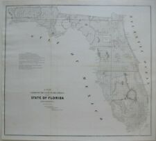 Original 1853 Survey Map FLORIDA Indian Boundary Everglades Pensacola Okeechobee