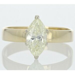 1.07ct Marquise Cut Diamond Solitaire Engagement Ring 14K Yellow Gold Size 6.25