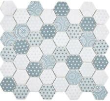 GLAS Mosaik Hexagon Sechseck ECO blau Wand Boden KücheBad WC |16-0414 10Matten