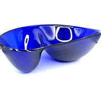Crate & Barrel WOVO Plastic Chip and Dip Bowl Blue Large Patio Party Bowl Funky