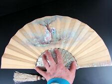 ANTIQUE FRENCH CARVED MOTHER OF PEARL HAND PAINTED ROMANTIC SCENE FAN SIGNED