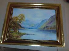 "P Carsburg Original Oil On Board, ""Untitled"" Mountain & Lake Scene, Autumn Tones"