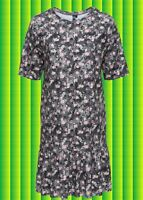 K64✪ Romantik Look Chiffon Kleid Dress Rosen Blumen Volant Country Gr. 38