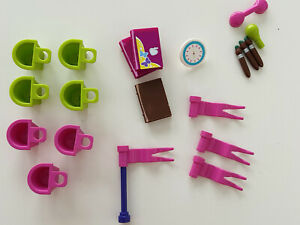Lego Friends Lot flags baskets books paintbrushes phone accessories for minifigs