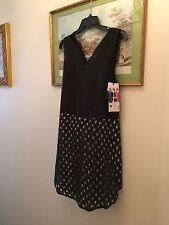 New Jaeger London Vintage Catwalk Black & White Tunic Top Dress,14
