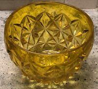 Vintage Yellow Vaseline Depression Glass Bowl~Heavy~